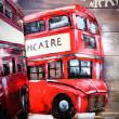 czerwony autobus z ondynu obraz 3d