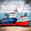 łodzie na plaży obraz 3d