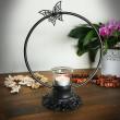 świecznik żeliwny motyl