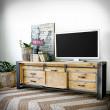 szafka pod telewizor ze stali i drewna