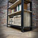 meble industrialne z drewna i stali
