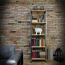 loftowy regał na książki metalowy z drewnianymi półkami
