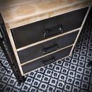 stalowe, metalowe biurko z blatem drewnianym