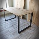 stół dębowy na nogach stalowych