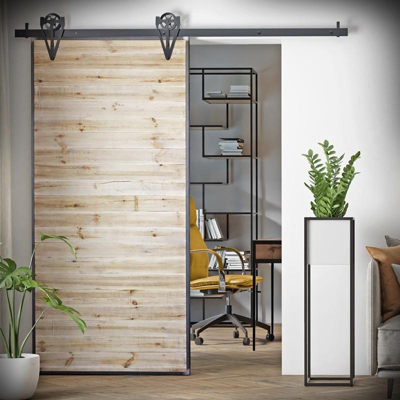 Drzwi przesuwne drewniane w ramie stalowej LOFT