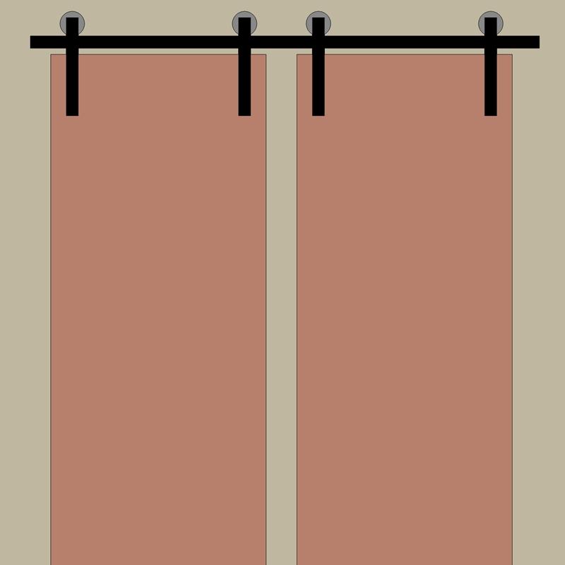 Kompletny system do drzwi dwuskrzydłowych - 2x prowadnica 200cm + łącznik