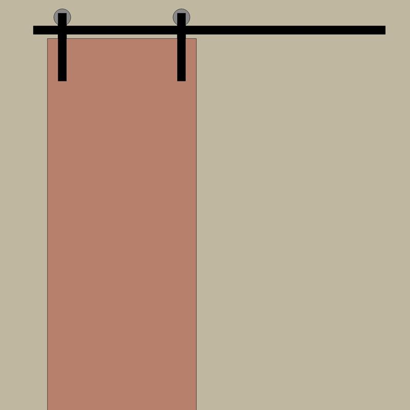 Kompletny system do drzwi jednoskrzydłowych z dodatkową szyną. Szyna o dł. 2x 200cm + łącznik