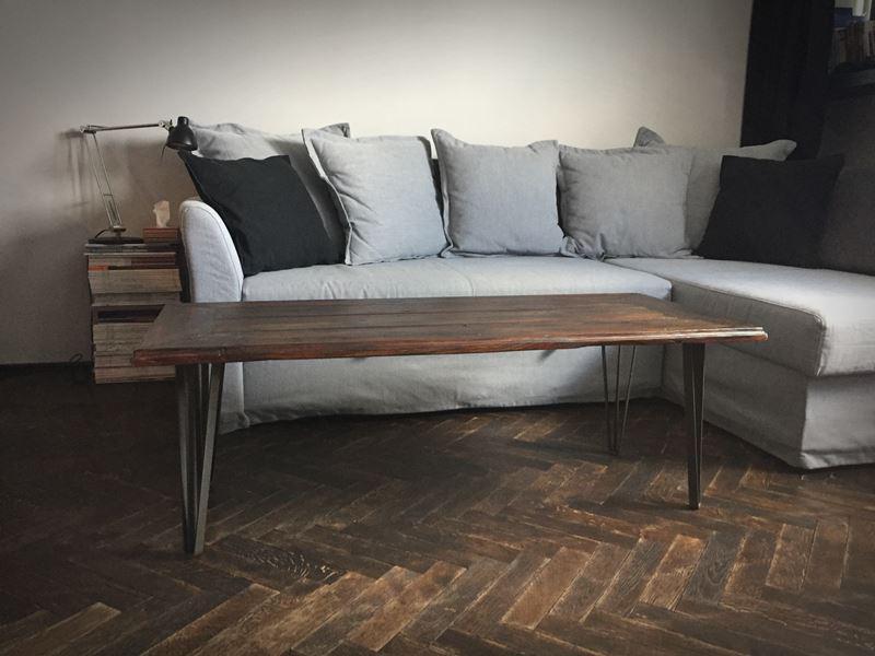 Ława, stolik kawowy z drewna z odzysku