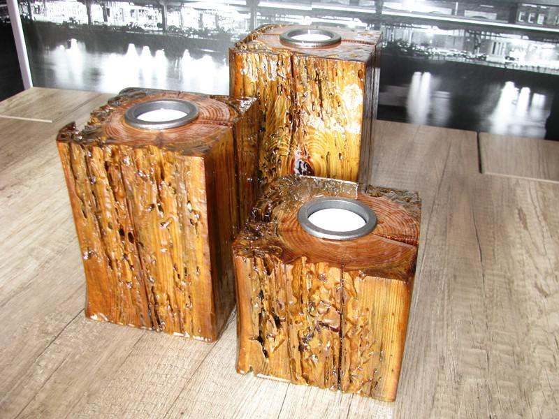 Kreatywne świeczniki drewniane