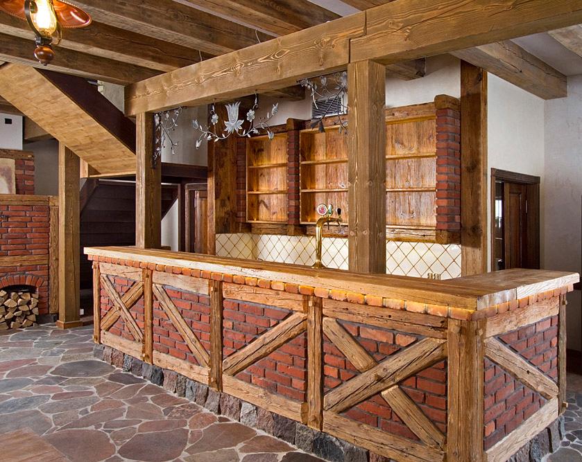 Bufet, bar z cegły i drewna