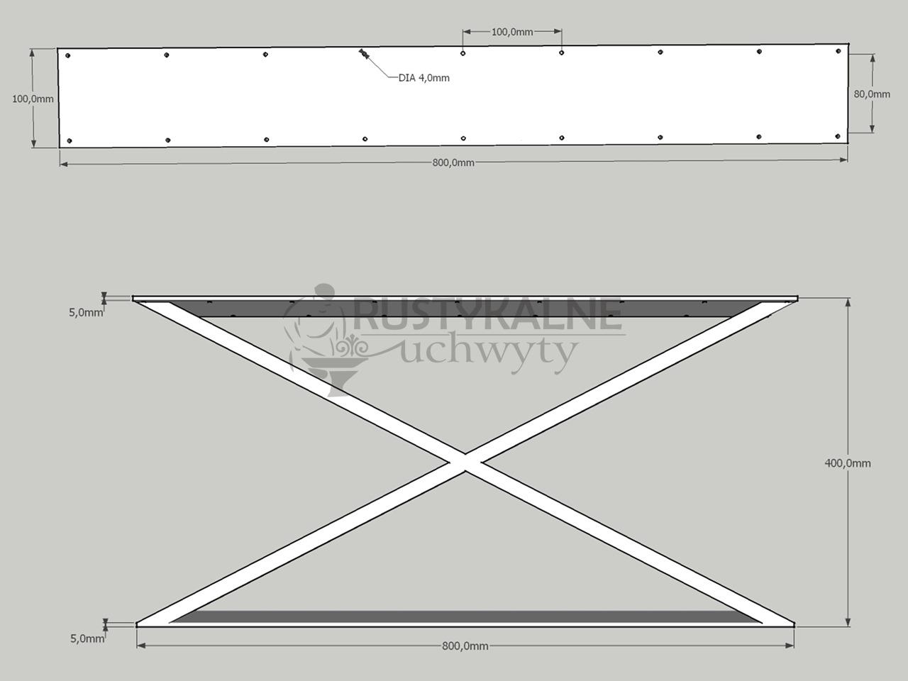 rysunek techniczny noga industrialna x