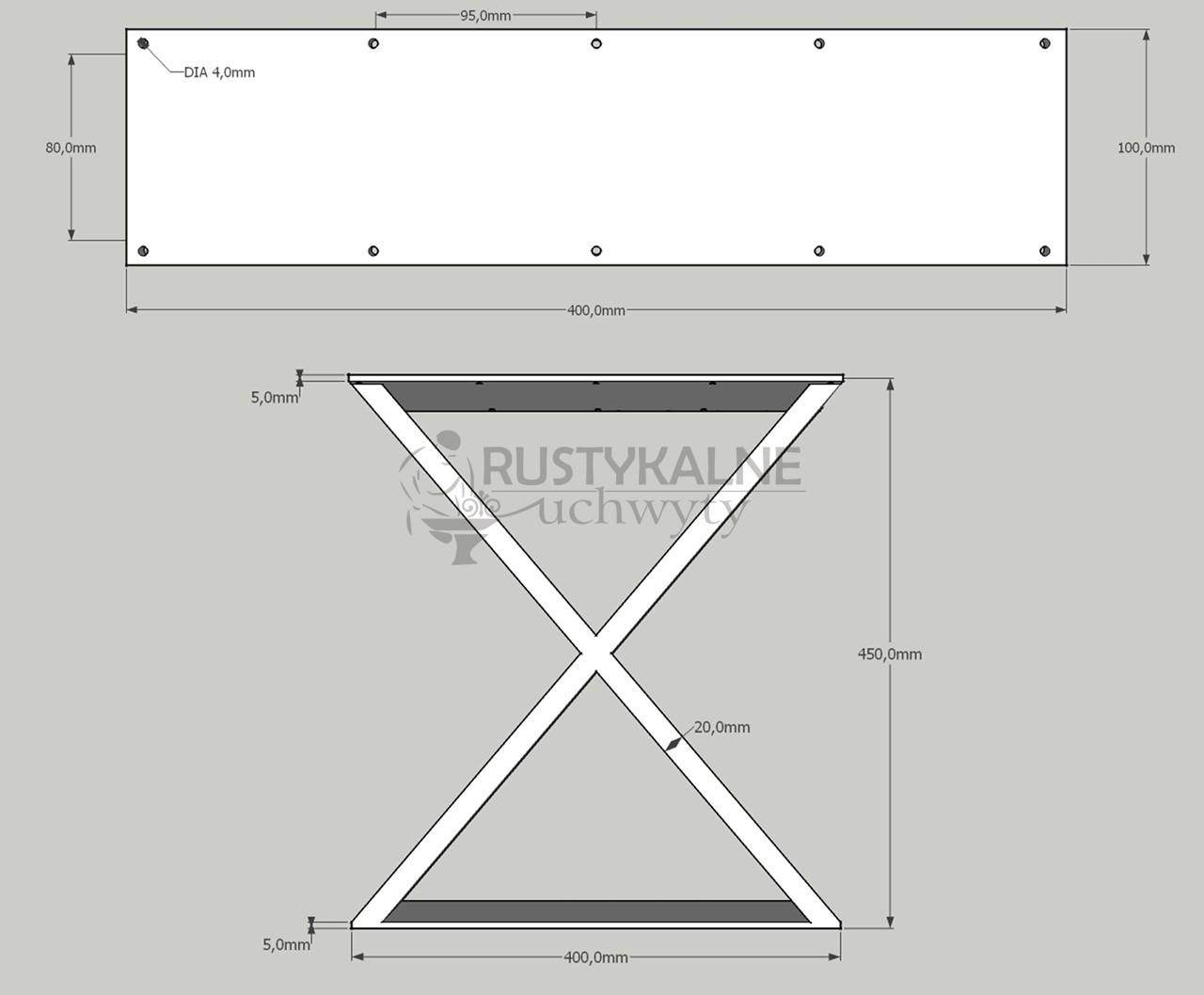 rysunek techniczny noga industrialna x 40x45