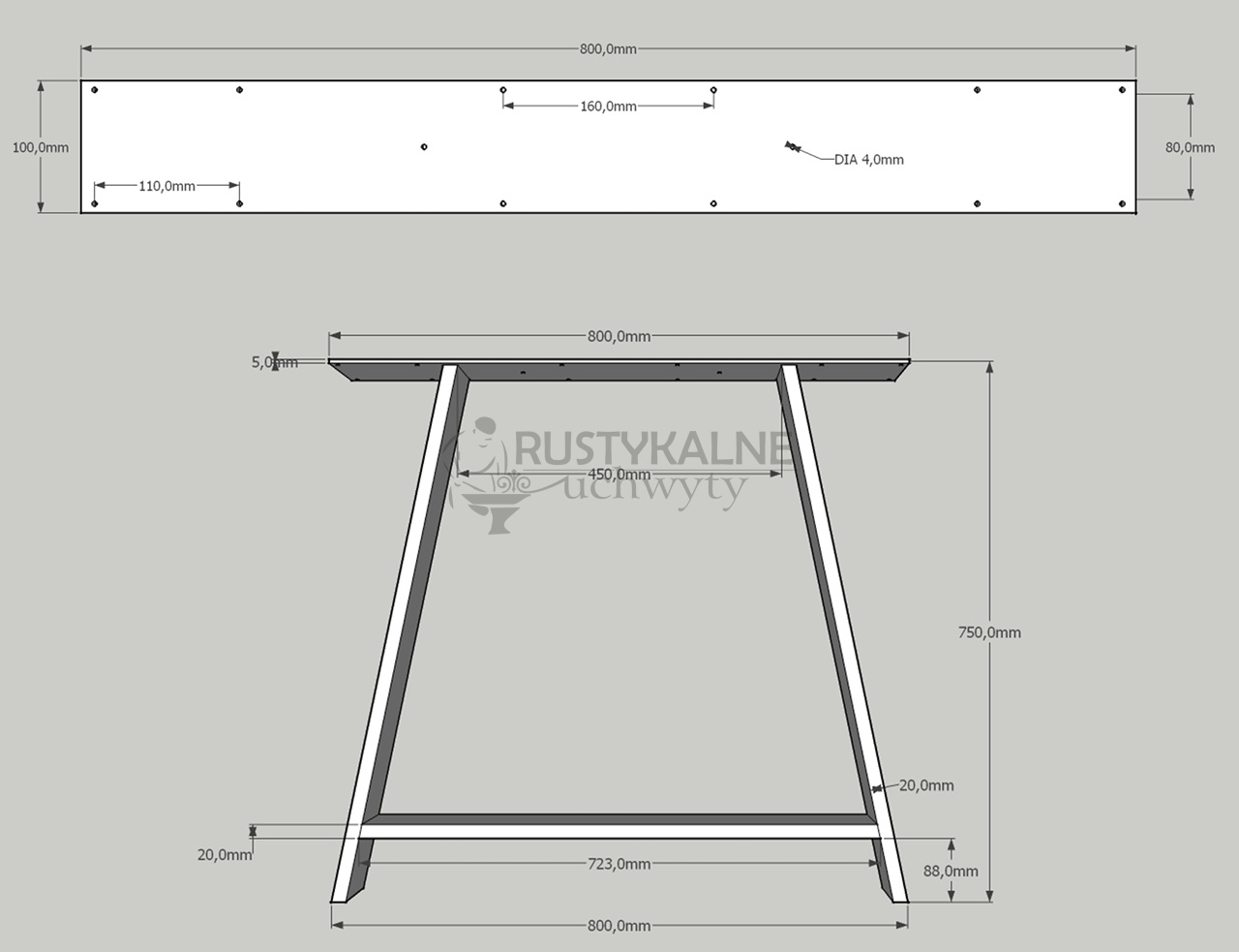 rysunek techniczny noga typu a 80x75