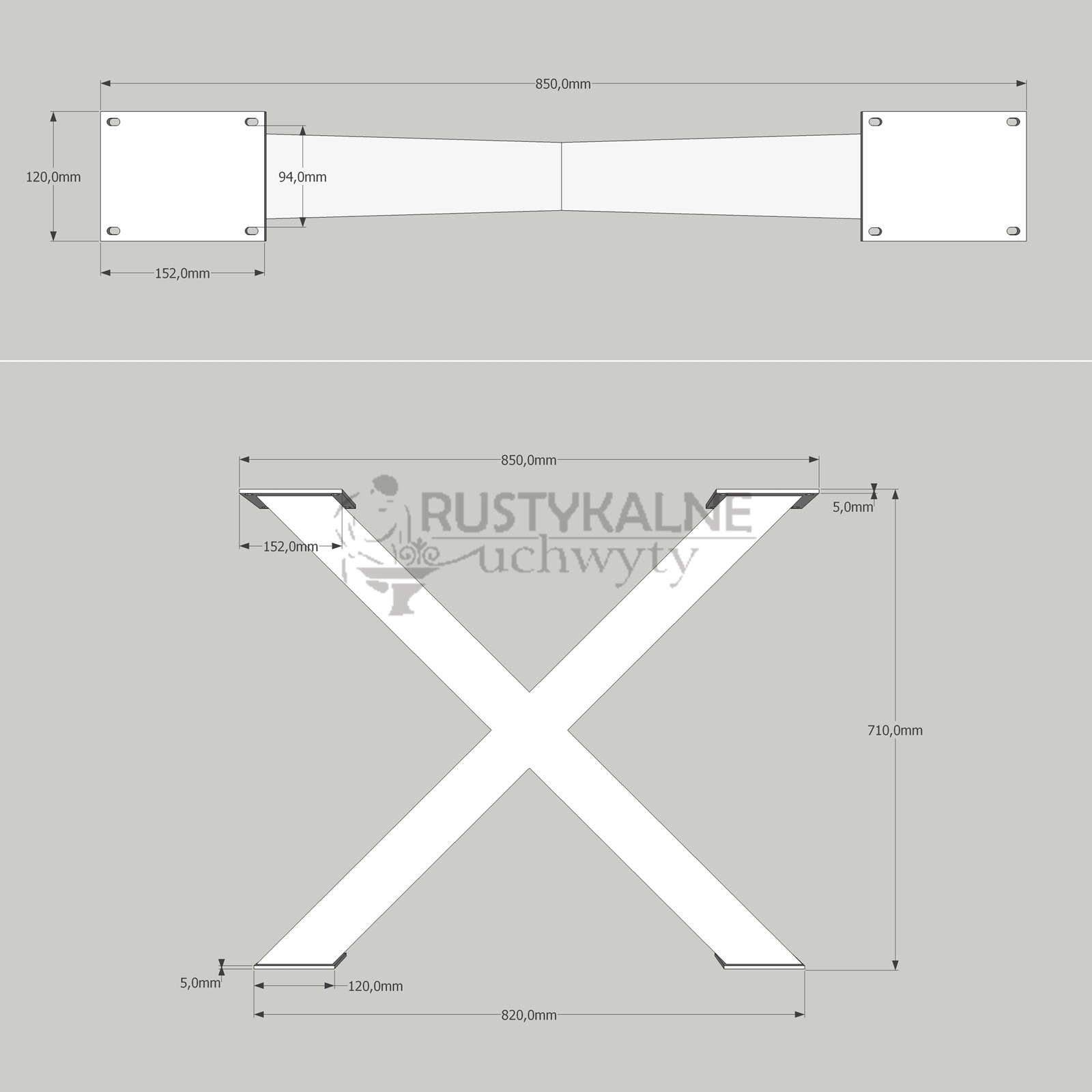 rysunek techniczny nogi krzyzak