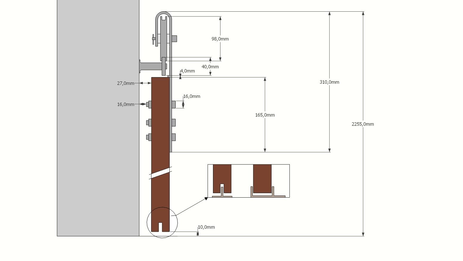 rysunek techniczny prowadnicy loft